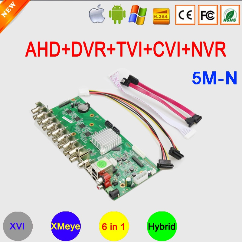 5mp/4mp/3mp/2mp Câmera de CCTV H.265 + 5M-N 16CH XMeye 6 em 1 Híbrido Coaxial Coaxial CVI TVI AHD DVR NVR Motherboard Frete Grátis