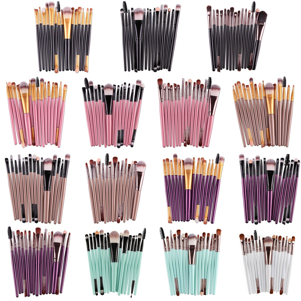 15 unids/set sombra de ojos pinceles de maquillaje cosmético labios cepillo de cejas Kits