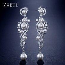 ZAKOL Vintage Pearl Wedding Party Jewelry Luxury Gorgeous Cubic Zirconia Big Long  Bridal Earring for Women FSEP2272