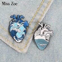 Ocean Wave Organ Heart Enamel Pins Custom Heart Whale Brooches Bag Clothes Lapel Pin Badge Blue Sea Beach Freedom Jewelry Gift
