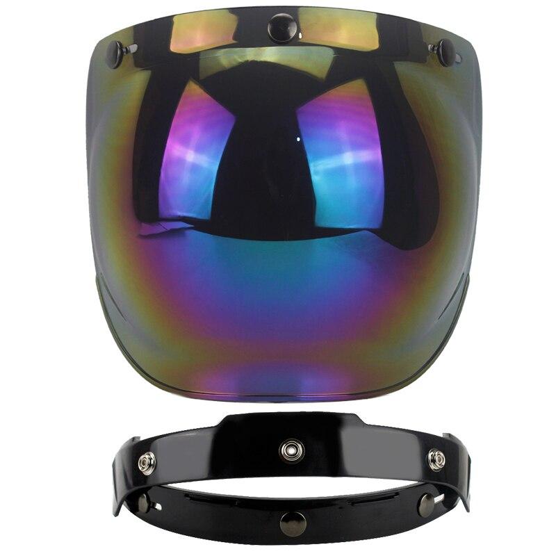 Casco de motocicleta con protección UV 400, visor de burbuja, certificado CE, cara abierta, Media máscara, casco con hebilla y tapa