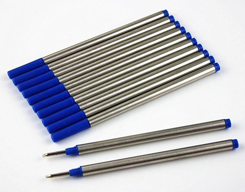 10 pces/padrão internacional espiral boca rollerball reenchimento haste de metal azul tinta 0.5mm sinal canetas reenche material de escritório da escola