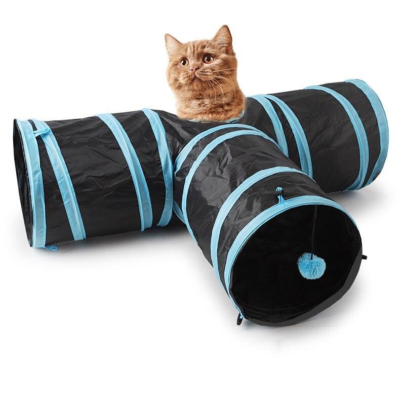 Juegos para túnel para gatos productos de gatos hurón para mascotas accesorios de gatos tubo para gato 2 agujeros tubos de juego bolas plegable juguetes arrugados