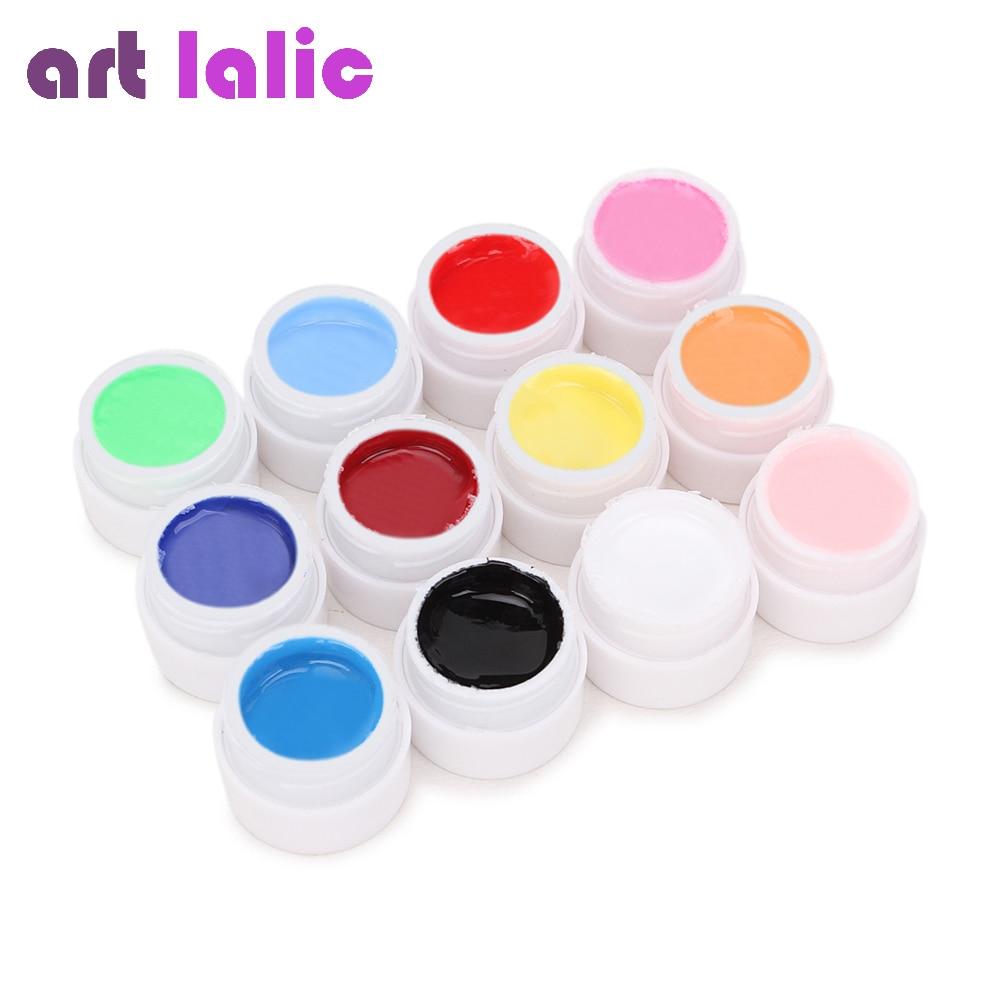 Artlalic 12 cores pure uv gel extensão manicure construtor dicas da arte do prego polonês design feminino beleza diy cola de unhas