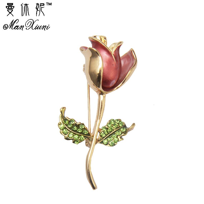 Hoge Kwaliteit Romantische Rose Goud-kleur Broche Pins Fashion Oostenrijk Crystal Rhinestone Rose Bloem Broches Party Accessoires
