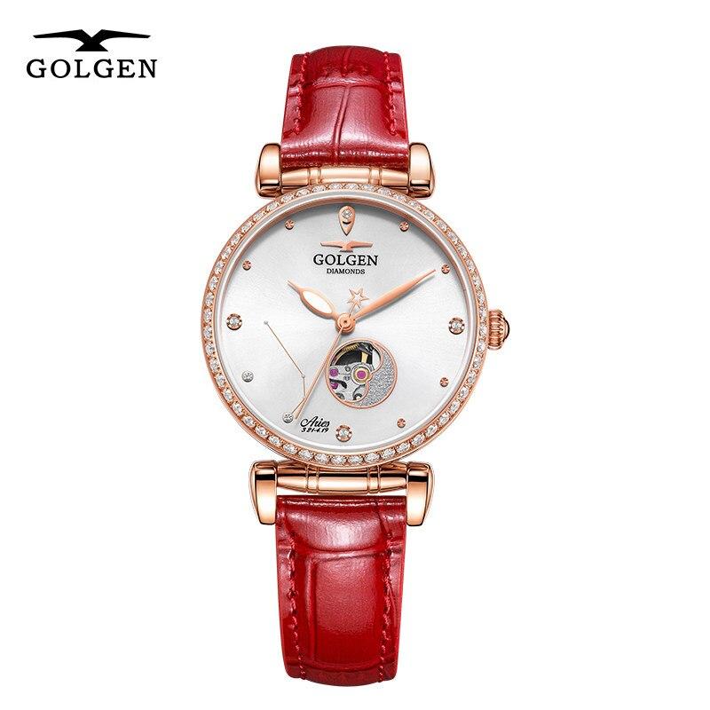 GOLGEN Watch for Women Mechanical Watches 12 Horoscope Waterproof  Skeleton Automatic Wristwatch Gift