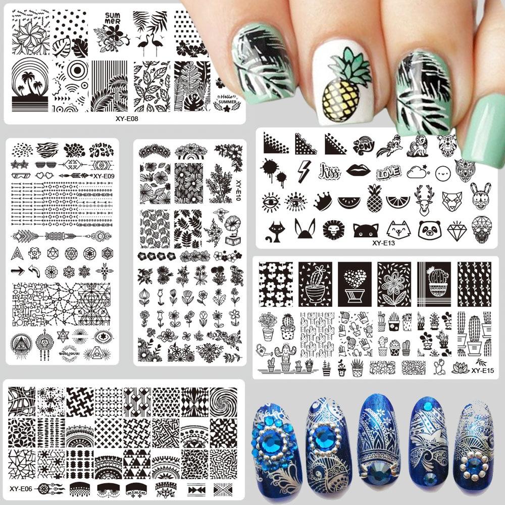 1 x placas de estampado de uñas de moda flamenco piña Cactus flor Navidad sello de acero plantilla esmalte de uñas plantillas XYE01-16