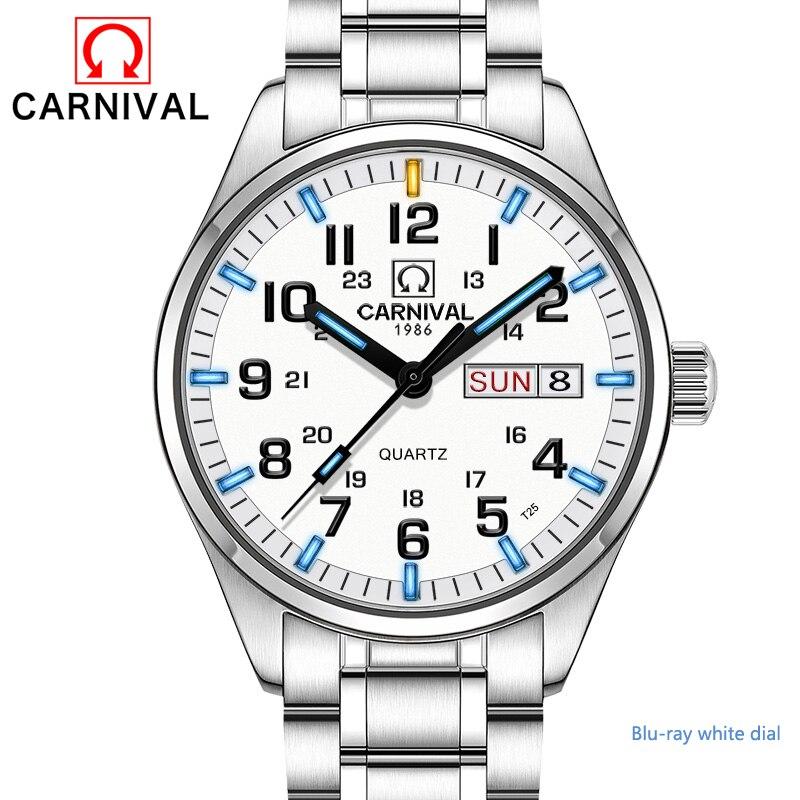 Nouveau Double calendrier Date Tritium lumineux Quartz militaire montre étanche 200 M carnaval Sport marque montres hommes steeI complet