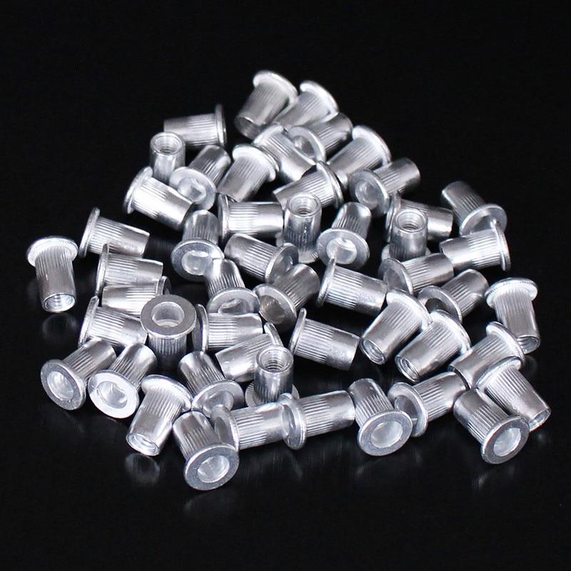 Алюминиевые плоскоголовые гайки с заклепками M6, 50 шт.