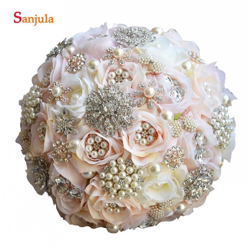Ramos de rosas con cristales de pliegues, accesorio de novia brillante, flor de champán, soporte para ramo de boda, caso P015