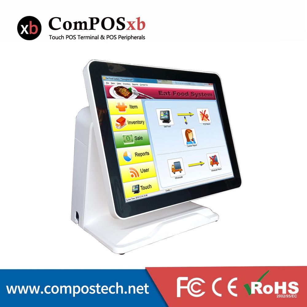 شاشة 15 بوصة تعمل باللمس ، نظام POS/كمبيوتر الكل في واحد ، مع VFD مدمج ، مع نظام نقود يعمل باللمس