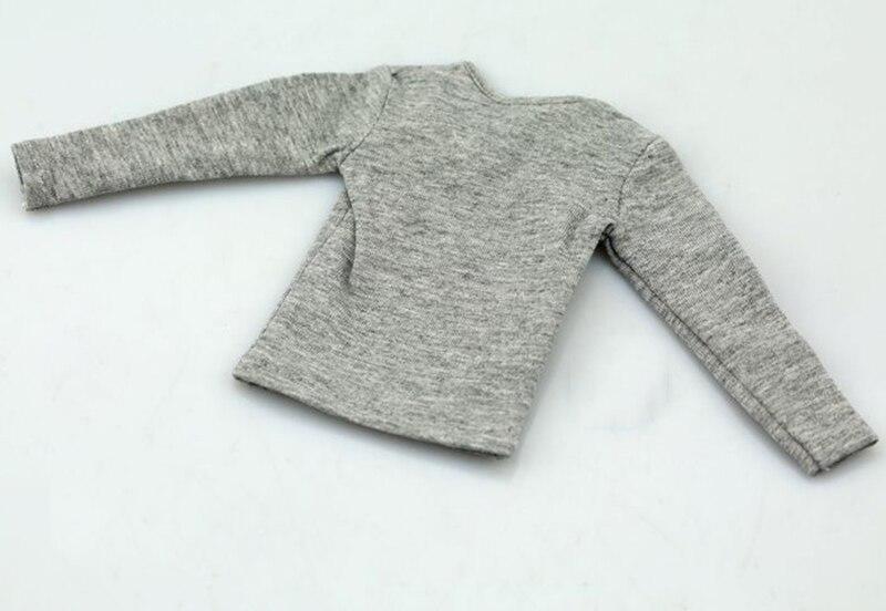 Camiseta gris para hombre a escala 1/6, manga larga para cuerpos de figuras de 12 pulgadas