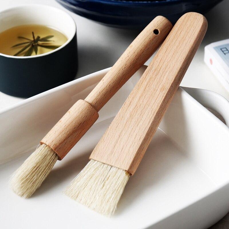 2 uds. Cepillos para aceite de cocina, pincel para hornear con mango de madera para barbacoa, parrilla, brocha de pastelería, herramientas de cocina para hornear mantequilla, salsa de miel, brocha para hornear
