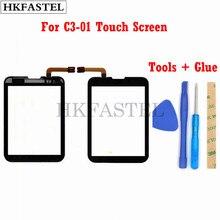 HKFASTEL Hohe Qualität Touch Für Nokia C3-01 C3 01 Schwarz Gold Touchscreen Digitizer Sensor Front Glas Objektiv panel + werkzeuge + kleber