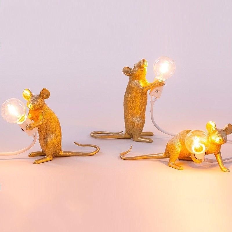 Lámparas de Mesa de resina con diseño de ratón de diseñador de Italia, Lámpara de mesa decorativa de habitación para lámpara de noche para dormitorio, lámpara de escritorio, accesorios de iluminación para decoración del hogar