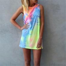 Women Ladies Summer Short Dress Holiday Beach Casual Loose Rainbow Sundress