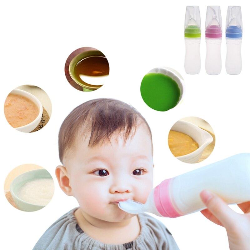 1 cuchara dispensadora de alimentos para bebé, alimentación de silicona con cuchara alimentadora, botella de Cereal de arroz de 120ML