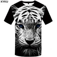 kyku brand tiger t shirt black shirts white tshirt animal t shirt clothes plus size men mens casual punk xs 8xl