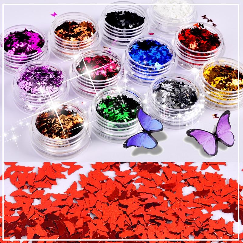 YZWLE 1 caja brillantina colorida para uñas Paillette ultradelgada mariposa puntas de lentejuelas para uñas decoración de uñas
