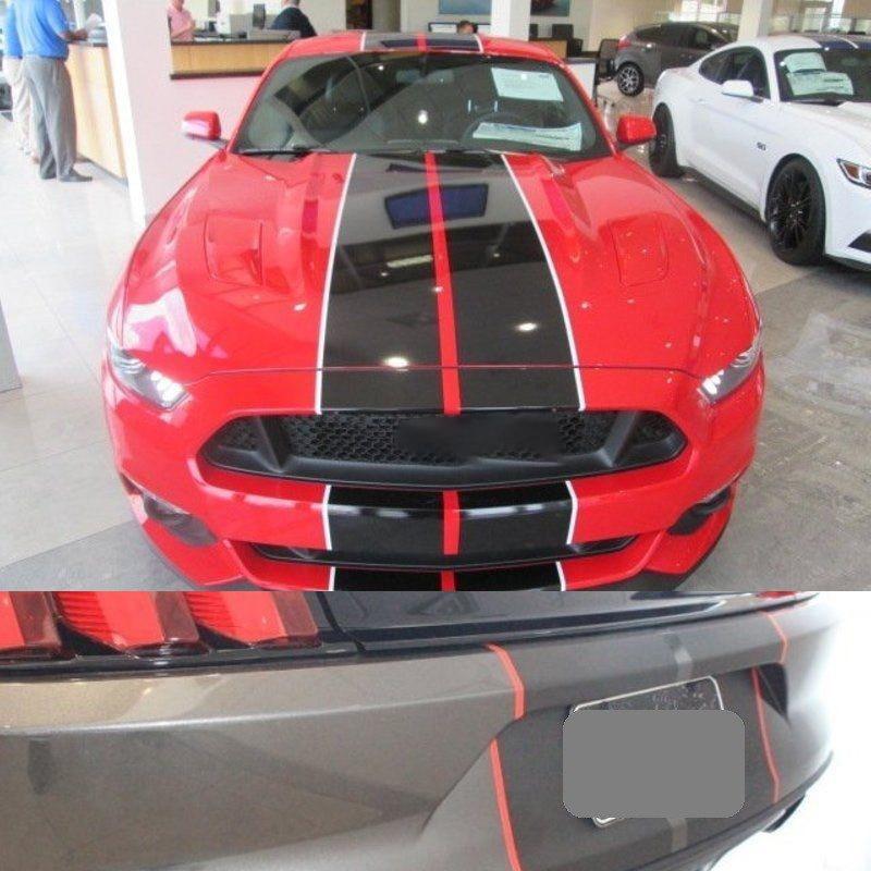 """8 colores Auto Wrap pegatinas para Ford Mustang 2015-2018 10 """"Twin Color Rally Stripes coche calcomanía Auto Hood Racing calcomanías"""