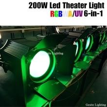 Stage disco light Warm cool white/ RGBW 4 in 1/RGBWAUV 6 in 1 dmx par led cob 200W cob led par light with barn door