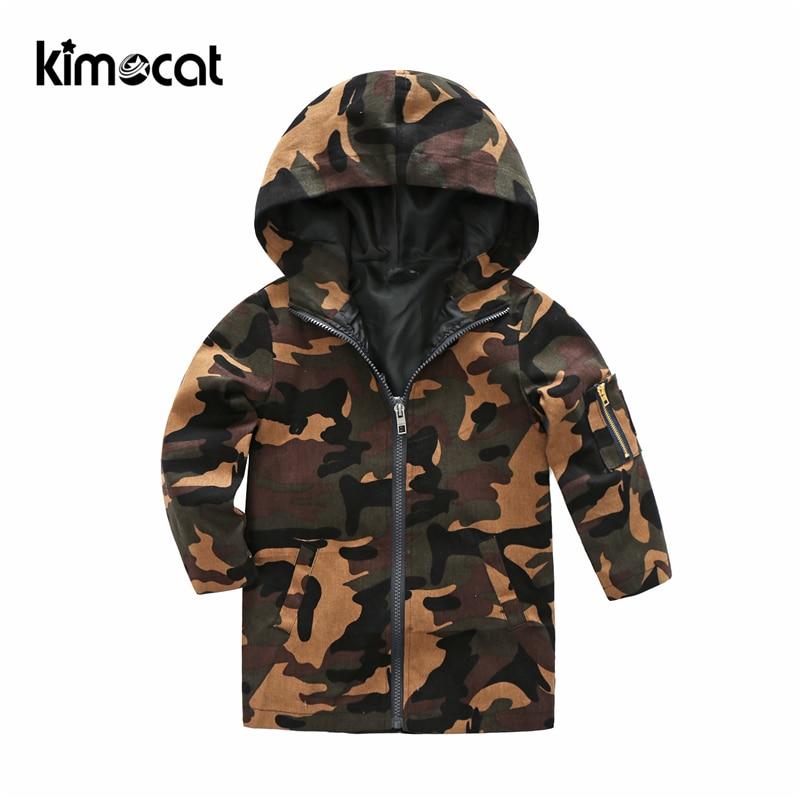 Kimocat-سترة واقية بغطاء للرأس وملابس للأولاد الصغار ، ملابس ربيعية مموهة متوسطة وطويلة ، سترة زهور