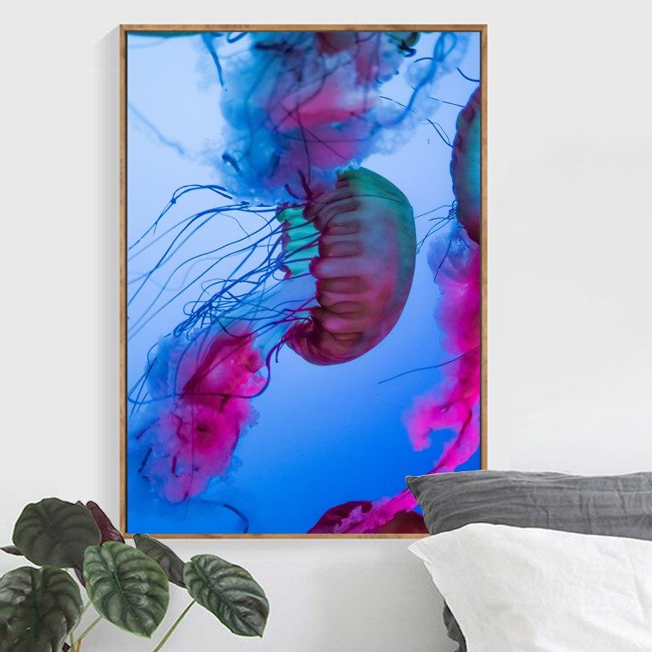 Cuadro sobre lienzo para pared de medusas de tinta Marina carteles nórdicos e impresiones para guardería fotos de pared de animales para decoración de dormitorio y sala de estar