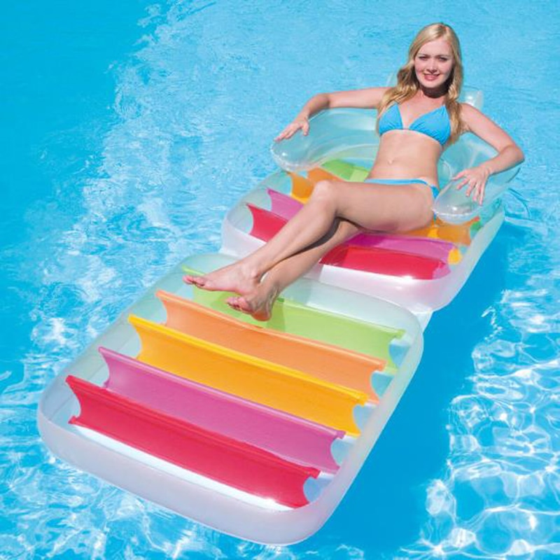 Plegable inflable volver agua tumbona flotante fila en la playa mat colchonetas...