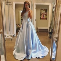 light blue a line with pocket evening dresses v neck sleeveless draped formal wear sweep train satin plus size evening party gow