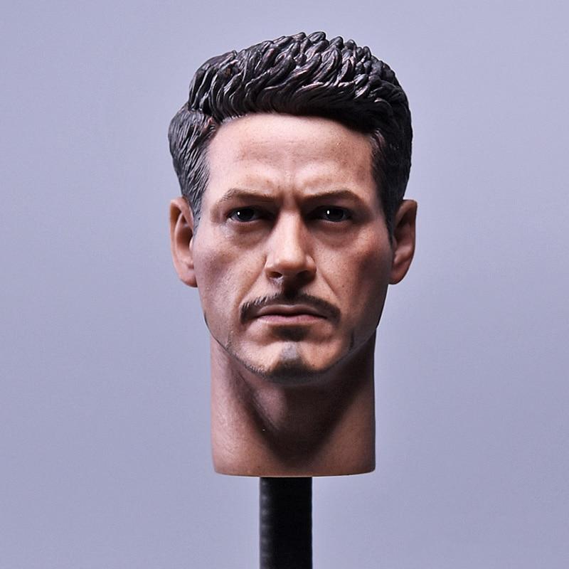 "1/6 Scale Iron Man Tony Stark Head Sculpt Model Head with Red Collar fit 12"" Male HT MK43 MK45 Figure"