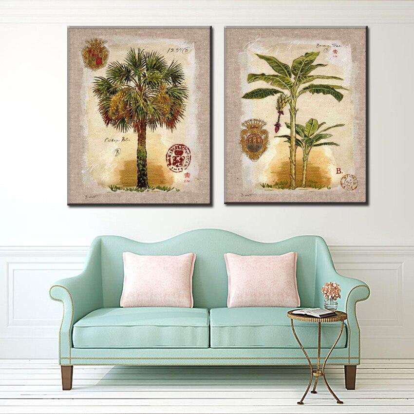 Juego de árboles de plátano de coco clásico Impresión de lienzo paisaje pinturas al óleo impresas en lienzo pared del hogar cuadros de decoración