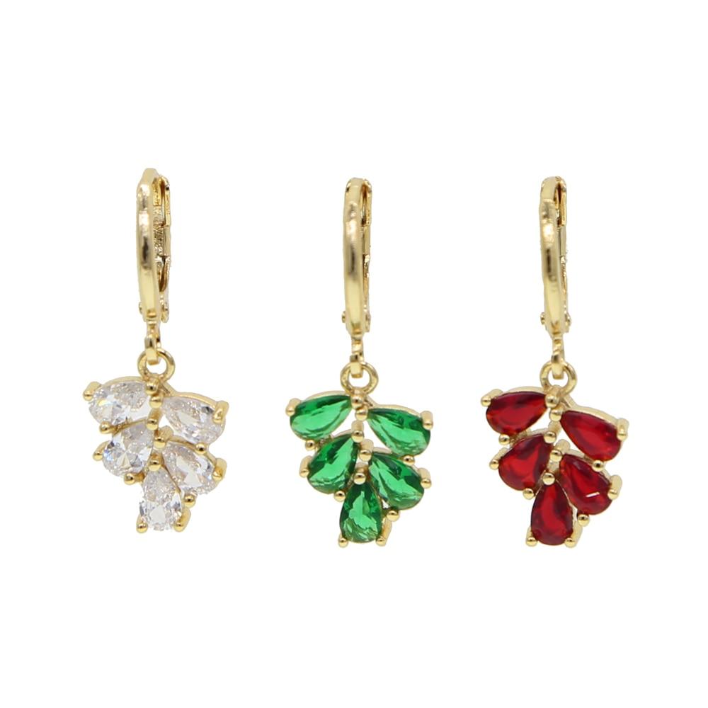 Blanco verde piedra roja lágrima cz cluster gota colgante pendiente para mujer moda joyería