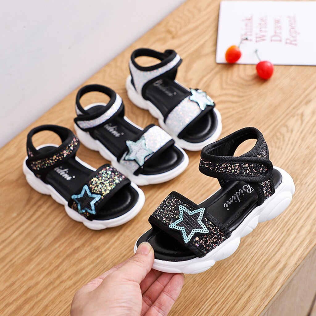 Sandalias para niñas MUQGEW, verano 2019, zapatos deportivos de lentejuelas de estrella de princesa para niños, zapatos de adorno de estrella con lentejuelas, sandalias de Punta abierta para la playa para niños