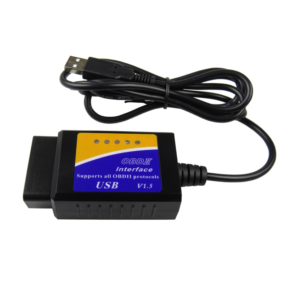 ELM327 USB Interface V1.5 OBD2 Car Diagnostic Scanner For PC ELM 327 USB Auto Diagnostic tool supports all OBDII protocols