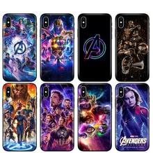 Coque en tpu noir pour iphone 5 5s se 6 6s 7 8 plus x 10 housse en silicone pour iphone XR XS MAX étui Avengers Endgame Marvel Comics