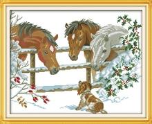 Família do cavalo Cross Stitch Kits padrão Animal Impresso lona Chinês Bordado Needlework set Fácil dmc ponto-Cruz Artesanal