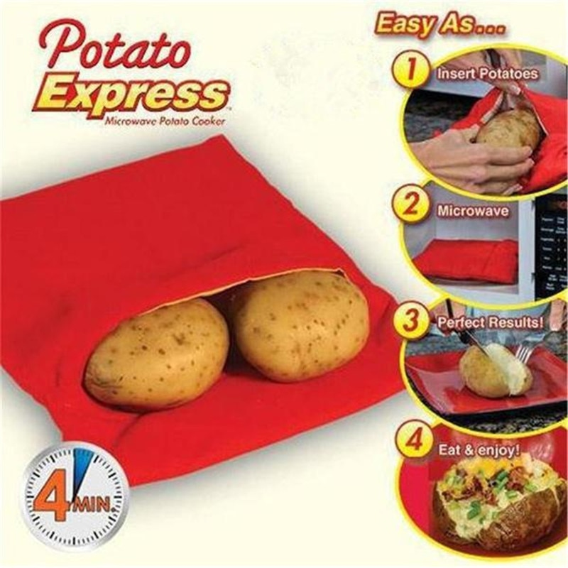 New Red Washable Potato Bag Potato Express Baking Tool Containable 4 Potatoes Microwave Easy to Cook