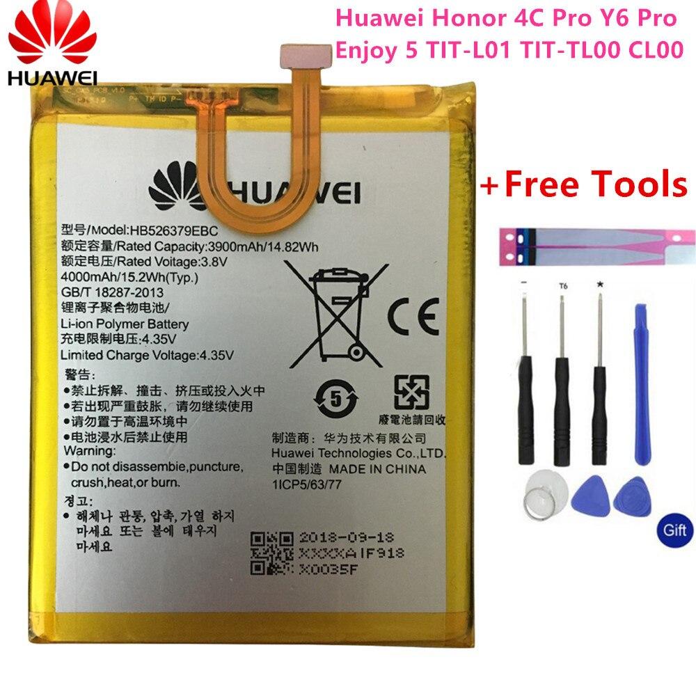 Оригинальный аккумулятор HB526379EBC для телефона Huawei Y6 Pro Enjoy 5 HONOR 4c pro TIT-L01 TIT-TL00 -CL00 TIT-CL10 4000 мАч