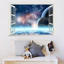 Galaxie créative espace extérieur planète stickers muraux pour salon décor art pvc papier peint 3d effet décor fenêtre stickers muraux