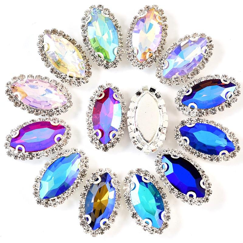 20pcs 2 Sizes Silver Claw Sew On Rhinestones Flatback Horse Eye Shape Sewing Stones Clothes Jewellery for DIY Garments Bag B1206