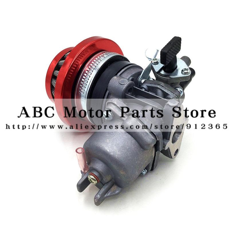 Carburetor Carb Carby + Steel 44mm Air Filter Red Blue+ Stack for 47cc 49cc Mini Moto Dirt Pocket Bike ATV Quad Go Kart Minimoto