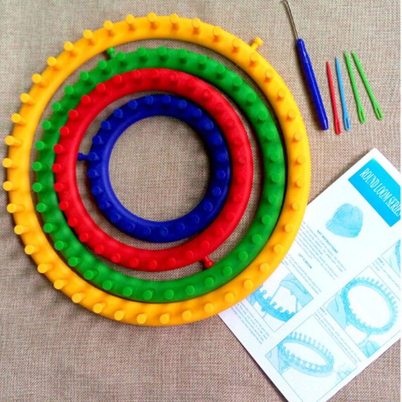 Juego de telar de punto de colores de tamaño 4 máquina de tejer circular sombrero de punto agujas de hilo de lana gancho herramientas de coser para sombreros bufandas