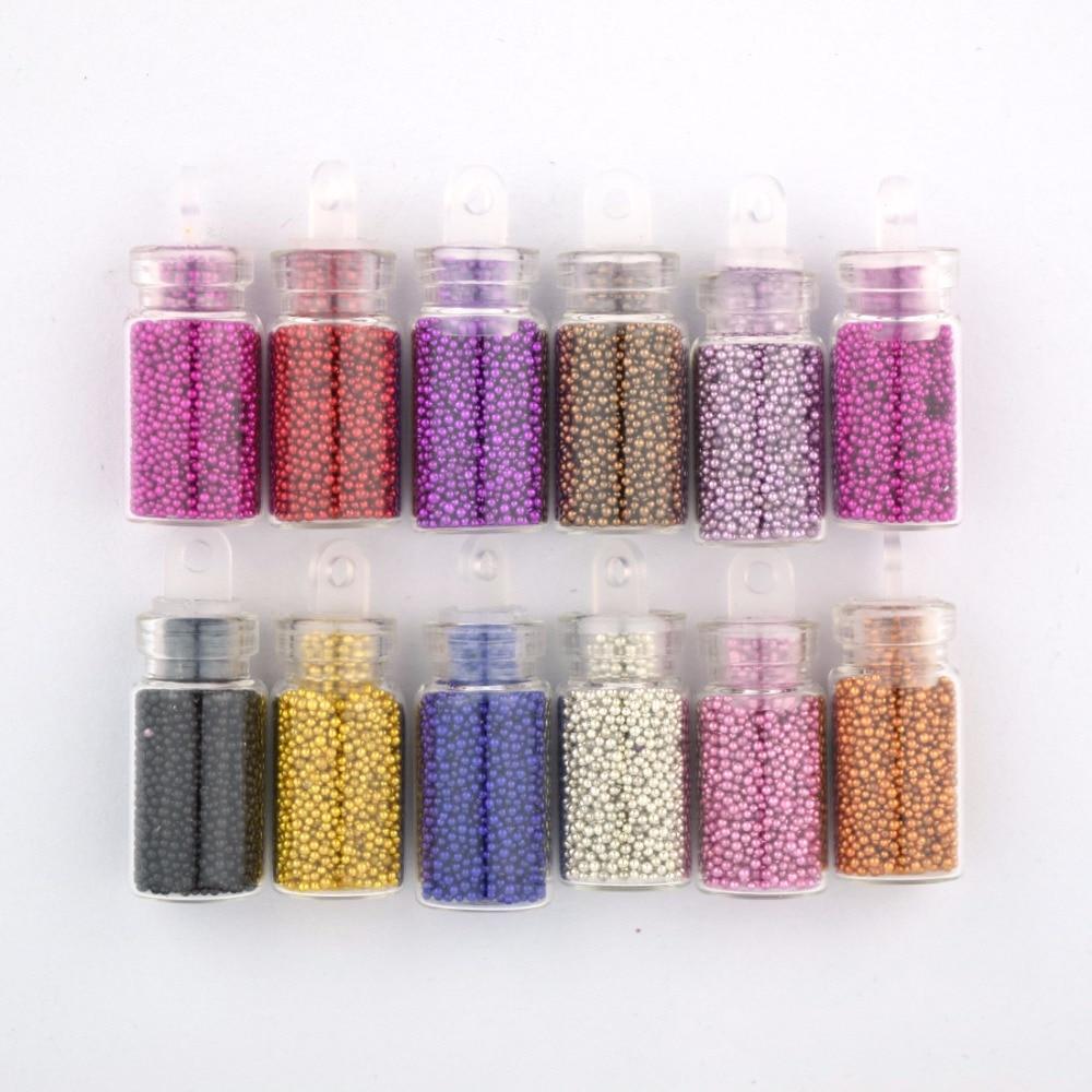 Juego de 12 colores para decoración de uñas, en forma de botella miniatura con Caviar, Círculo de cuentas para decoración en 3D DIY, cuentas de colores para decoración de uñas