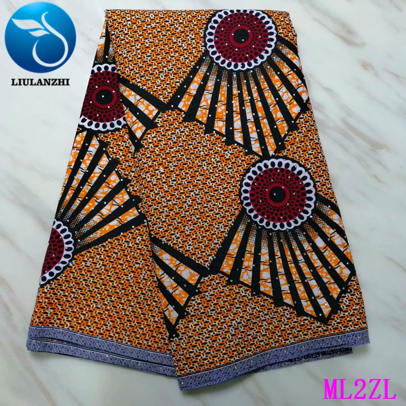 LIULANZHI Wax African Polyester Stones Ankara Printing Fabric for Dress 2019 Nigerian Wax Tissu 6 yards/Piece ML2ZL53