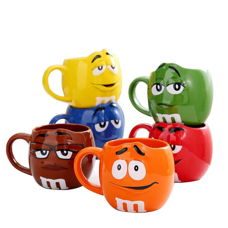 Caneca de café bonito da expressão copos de chá cerâmicos e canecas com colher grande capacidade mark drinkware criativo