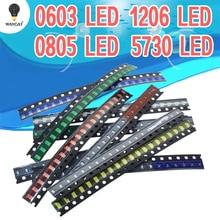100 pièces = 5 couleurs x 20 pièces 5050 5730 1210 1206 0805 0603 diode LED Assortiment diode smd LED Kit Vert/ROUGE/Blanc/Bleu/Jaune