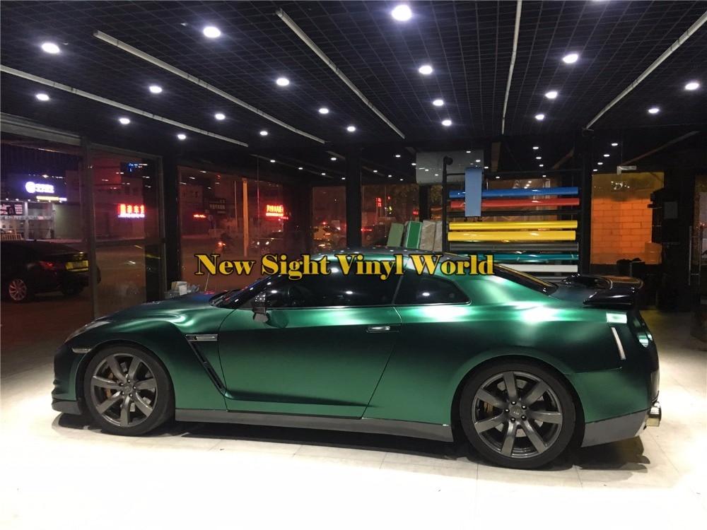 Mejor calidad Ston verde mate satinado envoltura metálica de vinilo rollo de película burbuja de aire libre de vehículo hoja de papel de embalaje gráfico