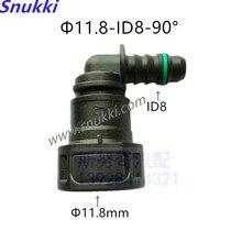 11,8 мм-ID8 Топливопровод быстрый соединитель 90 градусов SAE пластик Авто Топливопровод фитинги излучающие трубы Женский соединитель