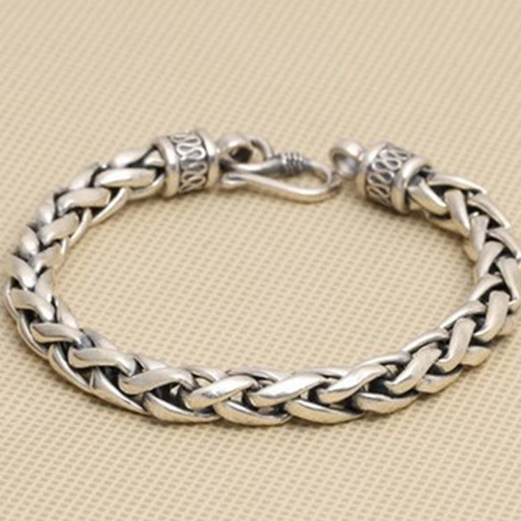 Pulsera de cadena gruesa de plata maciza 925 con diseño Simple para hombres Plata de Ley 925 100% auténtica joyería clásica para hombres moderna caja de regalo gratis