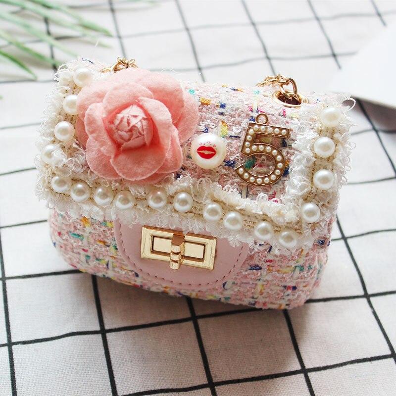 Los niños bolso de lentejuelas lindo chico niñas princesa perla mensajero bolsa de bebé flor bolso de hombro bolsas